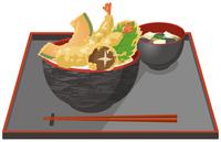天丼と味噌汁のイメージイラスト