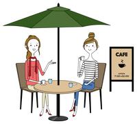 若い女性 カフェ おしゃべり