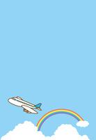 空を飛んでいる飛行機のイメージイラスト