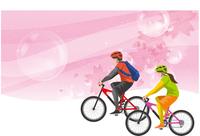 サイクリング 桜のイメージイラスト(男女)