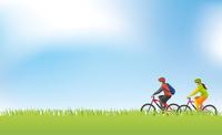 草原でサイクリングをするイメージイラスト(男女)