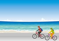 海辺をサイクリングをするイメージイラスト(男女)