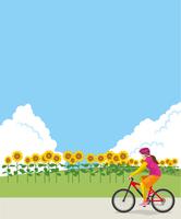 ひまわり畑でサイクリングをするイメージイラスト(女性)