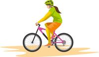 マウンテンバイクを運転する女性のイメージイラスト