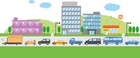 自動車が渋滞しているイメージイラスト(片車線)