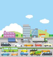 自動車が渋滞しているイメージイラスト(街並み)
