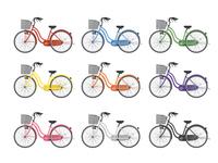 カラフルな自転車セット