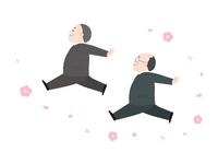優雅に舞う中年の男性と桜