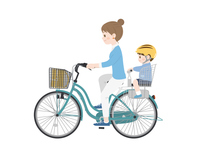 2人乗りの自転車に乗る母親