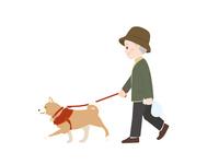 犬の散歩 おじいさん
