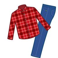 衣類。冬服カジュアル上下のイメージイラスト(男性用)