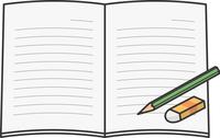 開いたノートと鉛筆と消しゴムのイメージイラスト