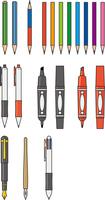 いろいろな筆記用具のイメージイラストセット