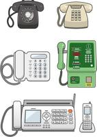 いろいろな固定電話機のイメージイラストセット
