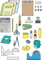 いろいろな文房具のイメージイラストセット