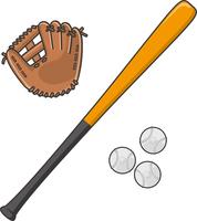 野球のバットとグローブと軟式ボール