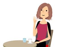 若い女性 カフェ 待ち合わせ