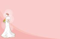 ウェディングドレスを着ている新婦のイメージイラスト_後ろ姿_コピースペース