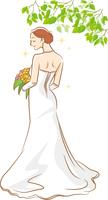 ウェディングドレスを着ている新婦のイメージイラスト_後ろ姿_木陰