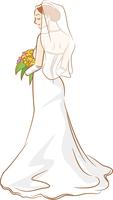 ウェディングドレスを着ている新婦のイメージイラスト_後ろ姿_ベールあり