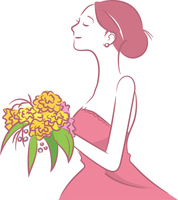 カラーのウェディングドレスを着ている新婦のイメージイラスト