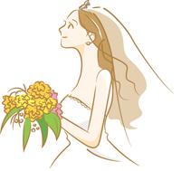 ウェディングドレスを着ている新婦のイメージイラスト