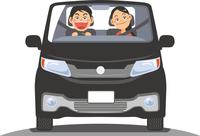 ドライブをしているカップルのイメージイラスト