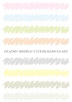 クレヨンで描いたパステルカラーのバナーセット