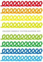 クレヨンで描いた鮮やかなバナーセット