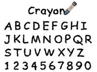 クレヨン手書きフォント 大文字と数字 黒