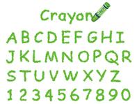 クレヨン手書きフォント 大文字と数字 緑