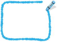 クレヨン手書きフレーム  長方形 青