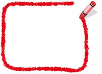 クレヨン手書きフレーム  長方形 赤
