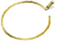 クレヨン手書きフレーム 楕円形 金