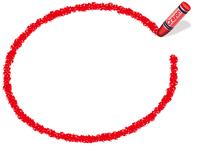 クレヨン手書きフレーム 楕円形 赤