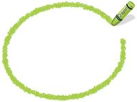 クレヨン手書きフレーム 楕円形 黄緑