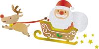 サンタクロースとトナカイのイラスト(水彩風)