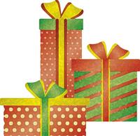 クリスマスプレゼントのイメージイラスト(水彩風)