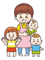保育士の女性と園児
