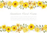 水彩風 黄色い花のシームレスなフレーム