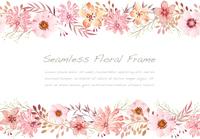 水彩風 ピンクの花のシームレスなフレーム