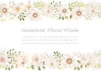 水彩風 白い花のシームレスなフレーム