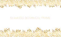金色のシームレスなボタニカルフレーム