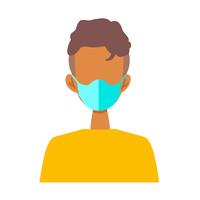 マスクを着けた人物のフラットイラスト
