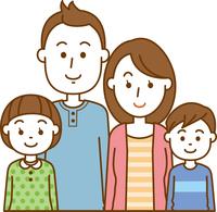 核家族。4人家族のイメージイラスト(上半身)