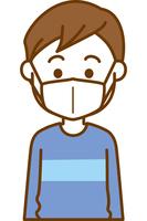 風邪予防のマスクをしている男の子のイメージイラスト
