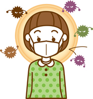 風邪予防のマスクをしている女の子のイメージイラスト