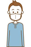 風邪予防のマスクをしている男性のイメージイラスト