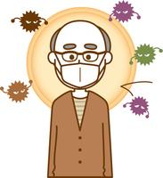 風邪予防のマスクをしている老人男性のイメージイラスト