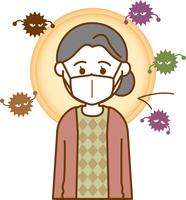 風邪予防のマスクをしている老人女性のイメージイラスト